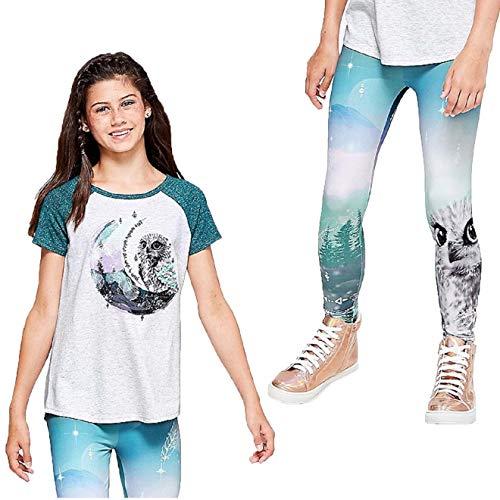 (Justice Girl's 2-Piece Bundle, Embellished Raglan Owl Tee & Pattern Leggings Set - Size)