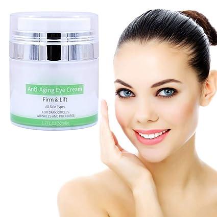 Crema para ojos para líneas y arrugas y ojeras, vitamina E, aceite de coco