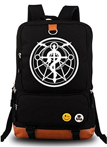 Gumstyle Anime Fullmetal Alchemist Luminous Large Capacity School Bag Cosplay Backpack Black and Blue ()
