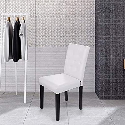 Set of 4 Dining Chair Elegant Leisure Armless Chair Kitchen Dinette Room White PU Leather Chairs