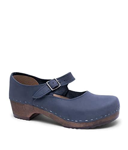 0b9c3c2b79a Sandgrens Swedish Low Heel Wooden Clogs for Women with Leather Upper | Mary  Jane