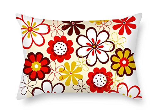 eyeselect Flower Throw Pillow Covers 18 X 26 Inches / 45 by 65 cm for Bedroom Car Seat Bf Dance Room Birthday Indoor with Two Sides for ()
