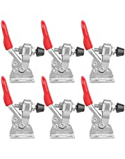 Hand Tool Toggle Clamp, 6Pcs Quick Release Toggle Clamp Toggle Clamp Vertical for Joint Jig, Smoker Lid, Door and Box Case(201A, Silver)