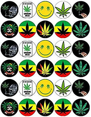 Superb 30 Cannabis Leaf Marijuana Weed Ganja Cupcake Toppers Edible Wafer Funny Birthday Cards Online Overcheapnameinfo