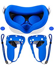 Colohas Oculus Quest 2 Accessories VR Cover - Touch Controller Grip Cover Handle Sleeve with Adjustable Knuckle Strap - Silicone Face Cover - Protective Lens Cover for Oculus Quest 2 Headset - Blue