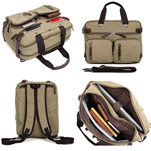 Clean Vintage Laptop Bag Hybrid Backpack Messenger Bag/Convertible Briefcase Backpack Satchel for Men Women- BookBag Rucksack Daypack-Waxed Canvas Leather, (Bits Case Pack)