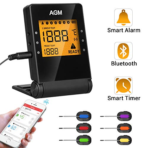 Digital Bluetooth Meat Thermometer, BBQ Wireless Grilling Cooking Food Thermometer with APP for Smoker Kitchen Oven, 6 Stainless Steel Probes, Support iOS & Android