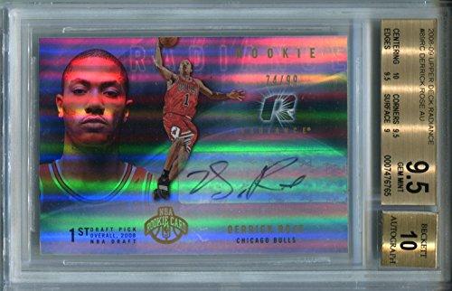 (Derrick Rose Auto 2008-09 RC NBA Upper Deck Radiance #89 BGS 9.5 Autograph 10 Chicago Bulls Basketball Trading Card)