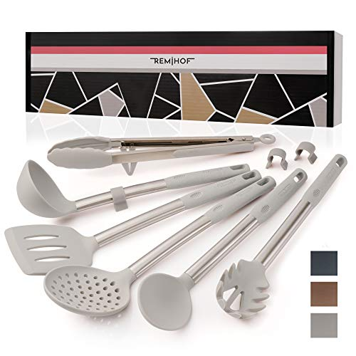 REMIHOF Kitchen Utensil Set - 6 Piece Nonstick Silicone and Stainless Steel Cooking Utensils & Spatulas - Spatula Turner Ladle Pasta Server - Best Kitchen Tool Set Gift