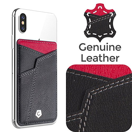 Genuine Football Jersey Black Nfl - Cobble Pro Self Adhesive Genuine Leather Stick On Credit Card Phone Holder Wallet Case, Sports Teams Fans Lover Sleeve Pocket Compatible with iPhone Xs Max/XS/XR/X/8/8 Plus, Smartphone, Black Red V2