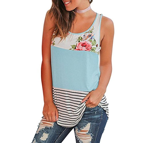 (Women Blouse Casual Floral Stripe Print Patchwork Sleeveless T Shirt Blue)