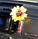 Bling My Bug VW Beetle Sunflower Red Bow with Universal Vase