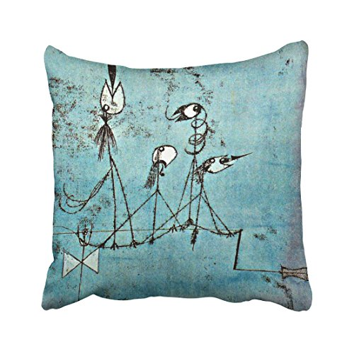 Twittering Machine - Emvency Square 16x16 Inches Decorative Pillowcases Art Paul Klee Art Twittering Machine Cotton Polyester Decor Throw Pillow Cover With Hidden Zipper For Bedroom Sofa