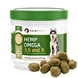 PointPet Omega 3 6 9 Fish Oil for Dogs with Organic Hemp Seed Oil - Dog Skin and Coat Supplement, Helps with Dry and Itchy Skin, Joints, Heart and Brain Health, 90 Soft Chews