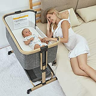 AMKE 3 in 1 Baby Bassinets, Baby Bedside Sleeper, Baby Crib with Storage Basket for Newborn, Arms Reach Co Sleeper, Adjustable Portable Baby Bed, Bedside Bassinet, Comfy Mattress/Travel Bag Included