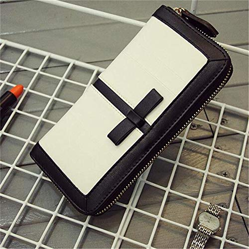 Women Long Wallets Purse Bag Black And White Large Zipper Wallet Card Holder (color - white)