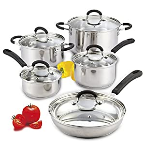 Cook N Home 10-Piece Stainless Steel Cookware Set 8