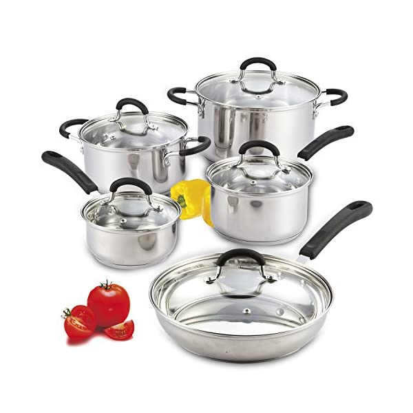 Cook N Home 10-Piece Stainless Steel Cookware Set 1