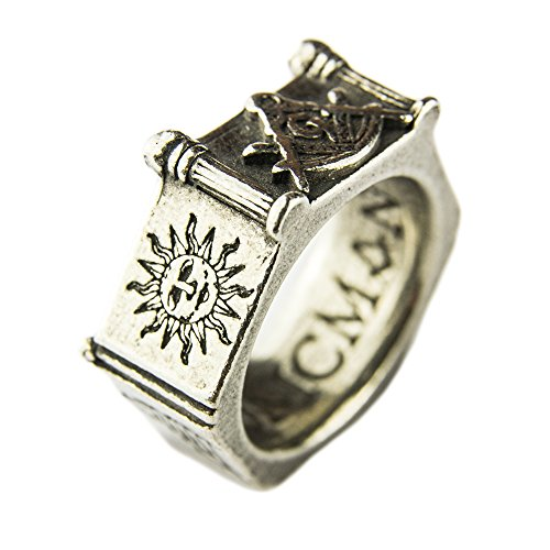MasonicMan Square and Compass Pewter Ring with Masonic Symbols Made in England