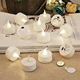 Tea lights Flameless Candles - Votive Candle LED TeaLight - Fake Candles Battery Operated Tea Light - Unscented Realistic Tealight 200 Hours - Warm Yellow Flame - Wedding Decorations 12 Packs
