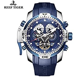 Reef Tiger Mens Sport Watch Complicated Blue Dial Black Rubber Steel Automatic Watch RGA3503