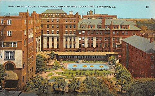 Hotel De Soto Court, Showing Pool & Miniature Golf Course Savannah, Georgia, GA, USA Old Vintage Golf Postcard Post Card