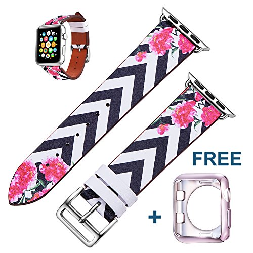 Apple Watch Band 38mm Women -Floral Pattern Printed Leather Replacement iWatch Band for Apple Watch Series 1/2/3 and Nike+ Edition;Free Protective Case Included; by (Black Printed Leather)