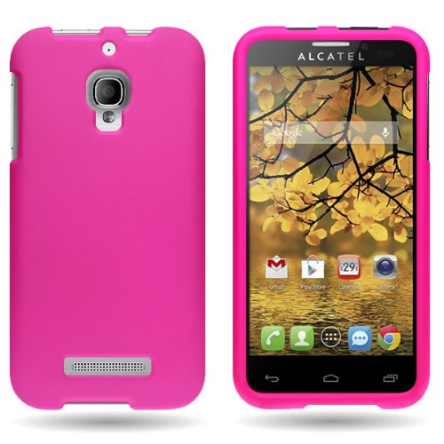 CoverON Hard Rubberized Slim Case for Alcatel OneTouch Fierce - with Cover Removal Pry Tool - Hot ()