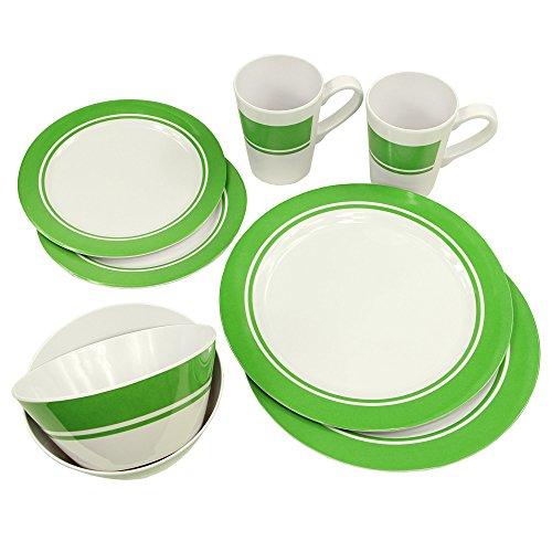 Fridani MDC Dinnerware - 8-teiliges Melamine Geschirr, 2 Becher, 4 Teller in 2 Größen, 2 Schüsseln