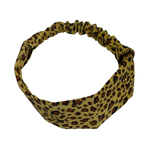 Mustard Headwrap with Gold Leopard Spots Soft Headband for women with Elastic