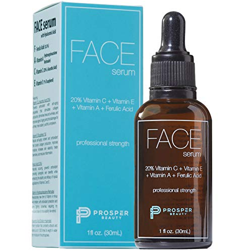 Vitamin C Facial Topical Serum [FACE serum by Prosper Beauty] Vitamin E, Ferulic Acid, Vitamin A Hyaluronic Acid, 1 fl oz. Natural Organic Lightening Brightening