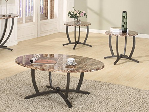GTU Furniture 3Pc Oval Faux Marble Top Living Room Metal Coffee Table Set, One Coffee Table with Two End Tables (Black Oval Cocktail Table)