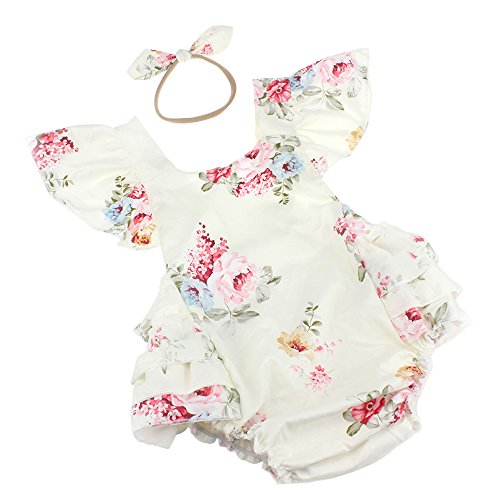 Luckikikids Baby Girls Cotton Vintage Floral Ruffle Rompers Clothing Headband Set (S(3-6M), (Vintage Handmade Cloth)
