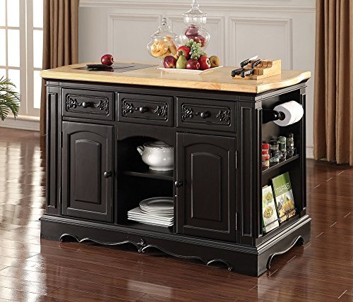 ACME Ariuk Antique Black Kitchen Island with Granite Cutting Board