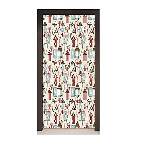 Valentines Art Door Decals Geometric Plaid and Polka Dot Design with Vintage Inspirations Bird Hearts Love for Home Decor Multicolor,W23xH70