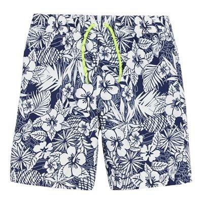 bluezoo Kids Boys' Blue Hibiscus Print Swim Shorts