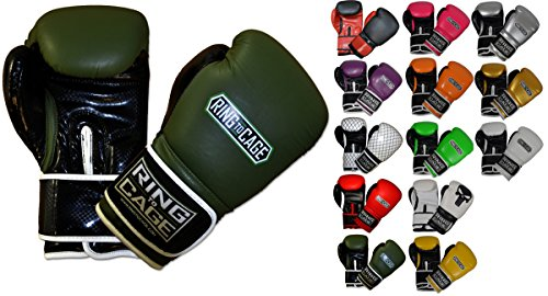 Ring to Cage Gym Training Stand-Up Boxing Gloves (Marine Green/Black, Regular weighs 12oz)