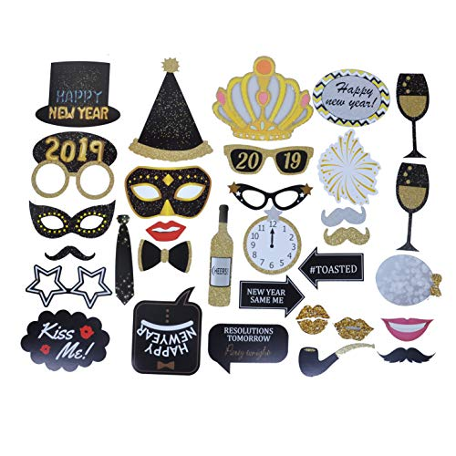 32pcs Year Eve 2019 Happy Year S Photo Booth Props Party Supplies