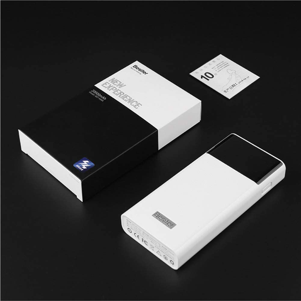 White Besiter 20000 Portable Charger High Capacity Dual Input and Dual USB Output Power Bank 20000mah LCD Display External Battery Pack Basic