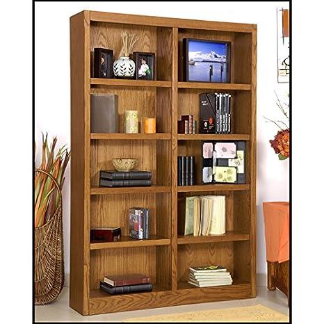 Amazoncom Wooden Bookshelves Double Wide  Bookcase Library - Wide bookshelves