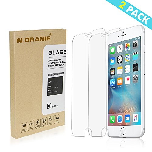 [2 Pack] N.ORANIE iPhone 7 Plus Screen Protector 5.5'' HD 9H Hardness Tempered Glass Anti-Scratch Anti Fingerprint Protective Film for Apple iPhone 7 Plus