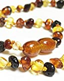Amber Teething Necklace for Babies with Bonus Bracelet - The All Natural Pain Reducing and Anti-Inflammatory Solution - Unisex (multicolor)