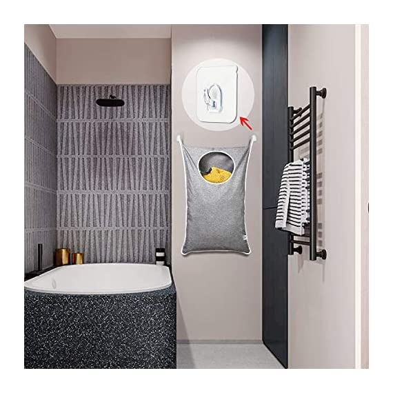 KEEPJOY Hanging Laundry Hamper Bag with Free Adjustable Stainless Steel Door 2 PCs Suction Cup Hooks, Best Choice for Holding Dirty Clothes and Saving Space, Grey - Size: 30*20*2 in - It has an extra large capacity to collect all of your families clothes. High-Quality Material - Hanging Laundry Bag is made of best Oxford fabric, durable and easy to washable. Unique Zipper Design - Back side zipper at the bottom for easier and quicker unloading. - laundry-room, hampers-baskets, entryway-laundry-room - 51GnuuxPmgL. SS570  -