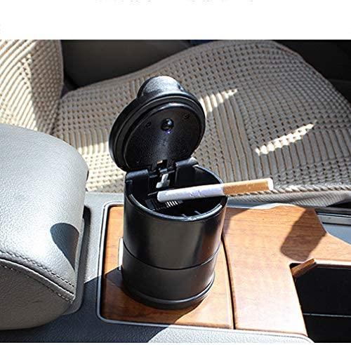 black RUIXFAP Sensitive Car Cigarette Ashtray Portable Car Vehicle Travel Ashtray Cinder Ash Holder Cup with LED Light Lamp Display Black Intelligent