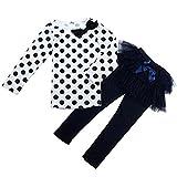 GQMART 3-7Y Kids Girl Long Sleeve Polka Dot Shirt Bubble Skirt Pant Suit Medium,Navy