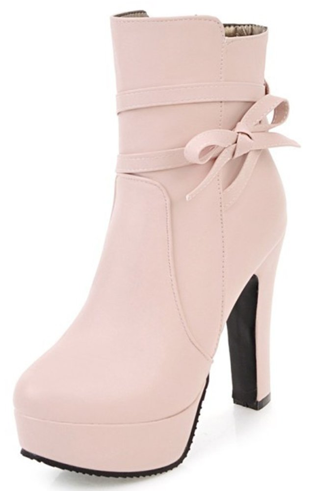 bd699e82011 IDIFU Women s Comfy Bowknot Round Toe Zip Up Platform Ankle High Boots With  Heels