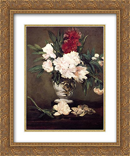 Edouard Manet 2X Matted 20x24 Gold Ornate Framed Art Print 'Vase of Peonies on a Small Pedestal'