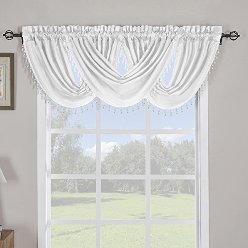 Sheetsnthings 100% Polyester White Soho Waterfall Decorative Trim Window Valance 57