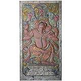 Antique Ganesha Barn Door Hand Carved Wall Relief Panel ,Rustic Teak Wood Carving Sculpture