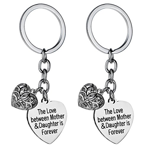 2PCs Mother Daughter Love Hollow Heart Pendant Keychain Set Gift For Mom Daughter - Key Chain Set